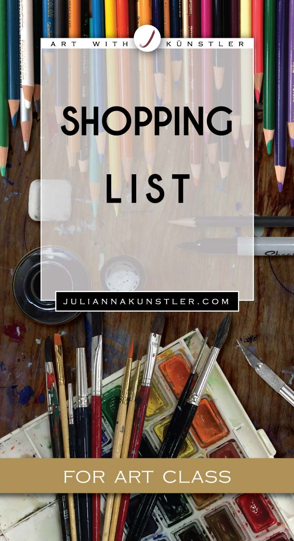 Shopping list of art supplies for high school Art classes. Links to buy.