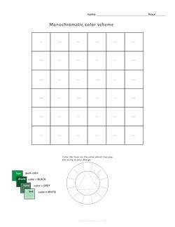 Worksheet 1 Monochromatic Color Scheme Design