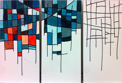 Color Schemes Triptych Art Lesson