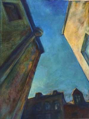 Night Sky Abstract Oil Pastel Art