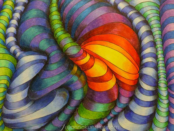 Line Optical Designing : Optical design colored pencils abstract coloring art lesson