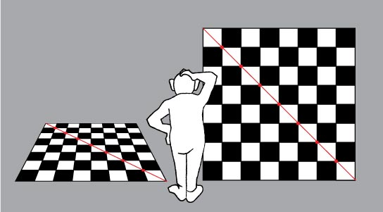 checkerboard in 1 point perspective