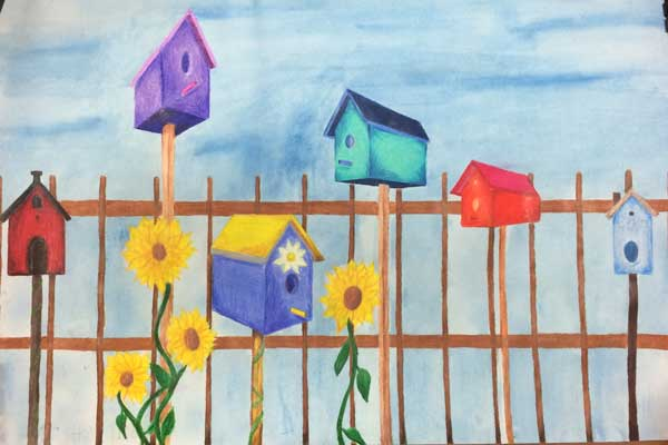 Birdhouses In 2 Point Perspective Drawing And Coloring