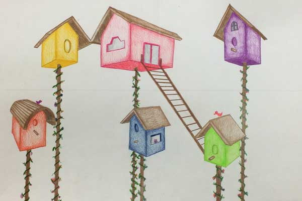 Birdhouses in 2 point perspective