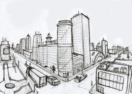Draw A City Block In 2 Point Perspective Art Lesson