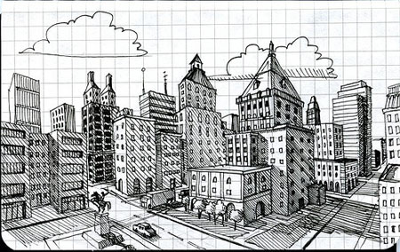 how to draw a space city