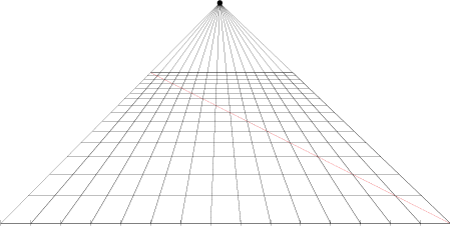drawing forms on a grid plan in one point perspective