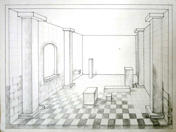 Draw A Room In 1 Point Perspective Art Lesson