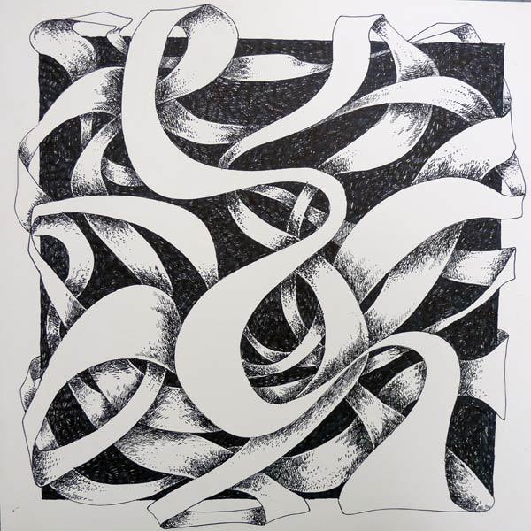 Line Art Ribbon : Ribbon design cross hatching technique art lesson