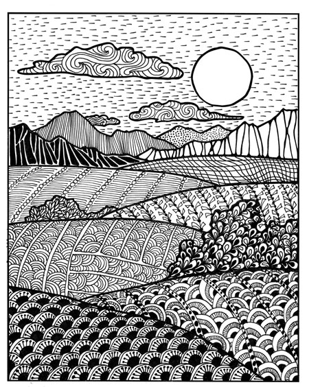 Drawing Lines In D : Creative patterns zen inspired landscape drawing art lesson