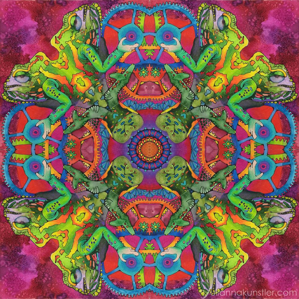 Mandala. Mixed media. Art lesson.