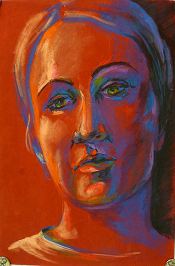 Self portrait in oil pastels. Art lesson.