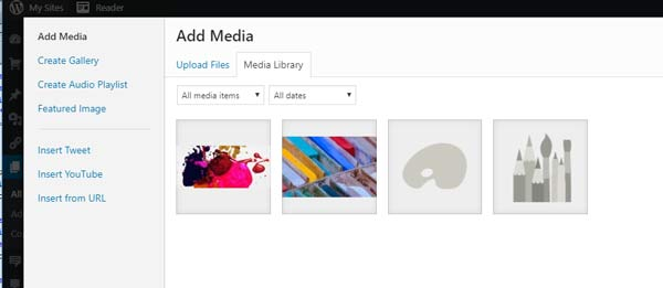 add media to a page