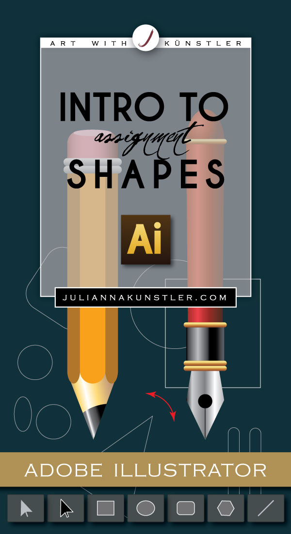 Intro to shapes in Adobe Illustrator. Color properties, gradients, pathfinder, alignment. Pencil and pen projects.