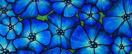 coloring background with blue flowers