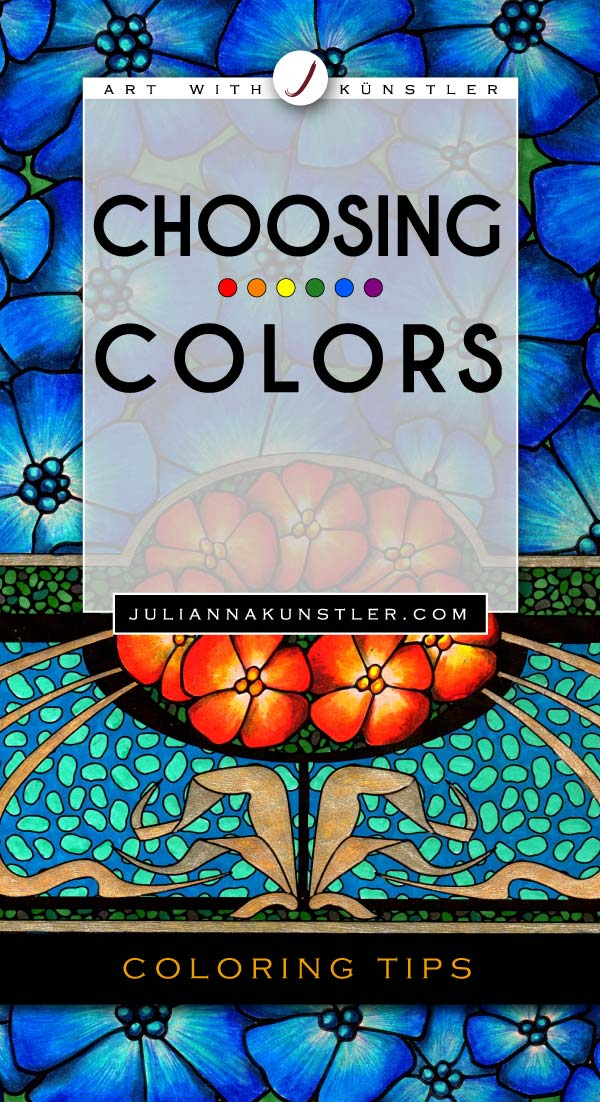 Choosing colors for your coloring project - books or prints. How to use color schemes. Color Theory basics.