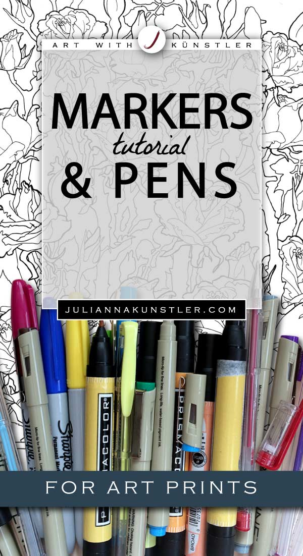 How to use pens and markers in your coloring projects. Tips and tutorials for coloring art prints.