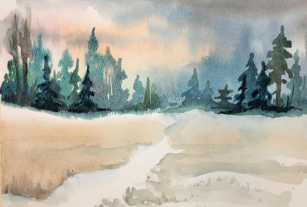 Watercolor Basics Simple Landscape