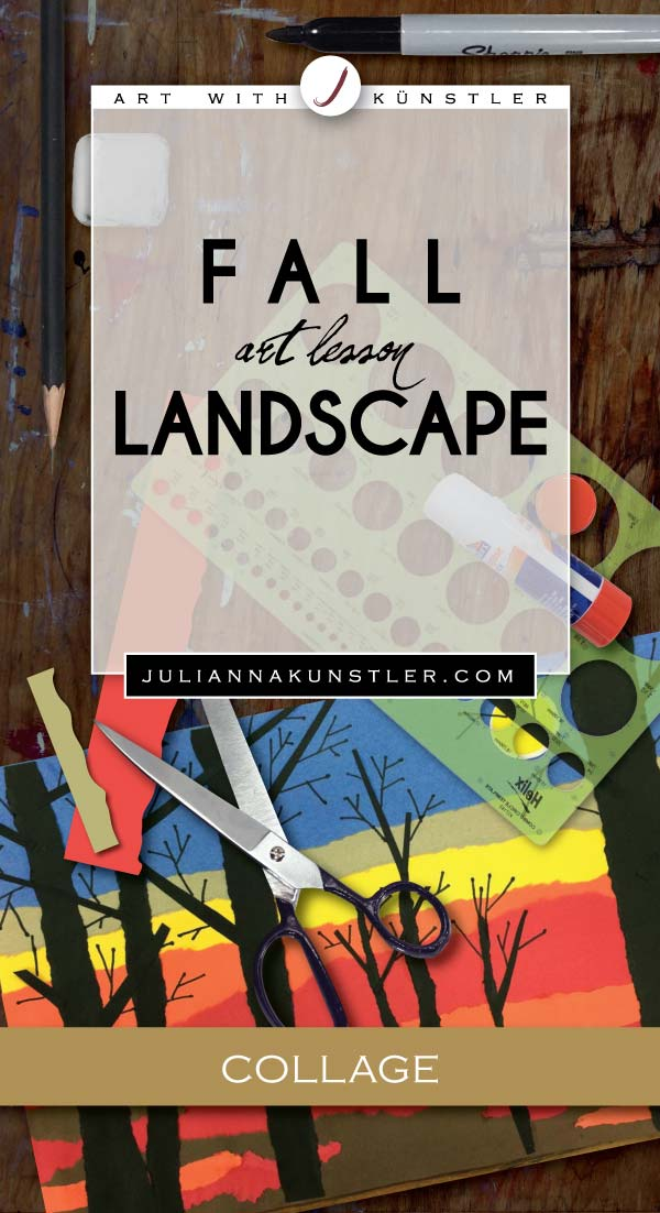 Fall Landscape collage. Exploring art assignment for students with special needs.