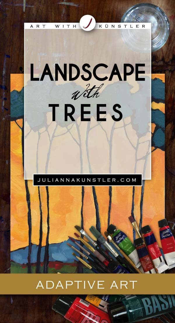 How to paint a landscape with trees. Adaptive Arts lesson plan. Detailed instructions. Acrylics and oil pastels.