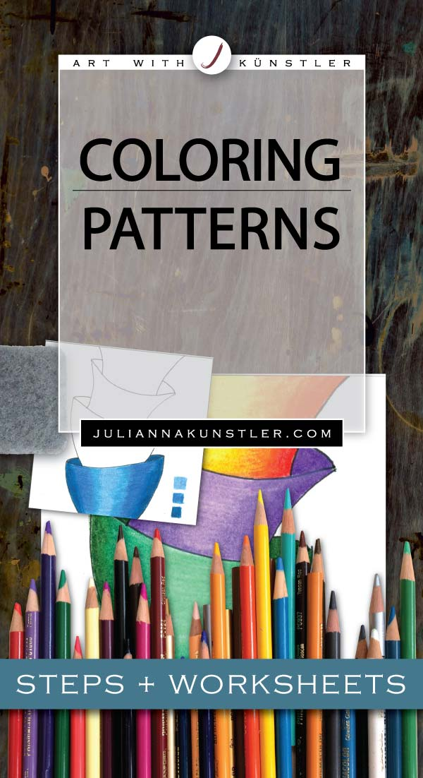 Lesson: how to color and shade patterns, zen-tangles and doddles. Step-by-step tutorial for colored pencils.